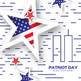 Origami Patriot Day on white background with lines. Royalty Free Stock Photos
