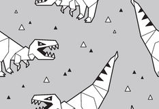 Origami pattern background with dinosaurs Stock Images