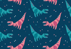 Origami pattern background with dinosaurs Stock Image