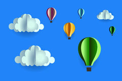 Origami pattern many clouds and five balloon made of paper Royalty Free Stock Images