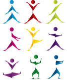 Origami people in motion Stock Photo