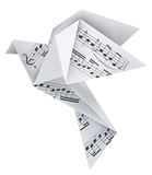 Origami pigeon with musical notes Royalty Free Stock Photos