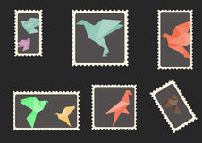 Origami pigeons and doves envelope stamps Royalty Free Stock Image