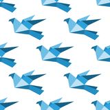 Origami pigeons and doves seamless pattern Royalty Free Stock Images