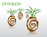 Origami pineapple. Vector illustration of origami pineapple Stock Image