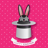 Origami Pink Greeting card with Happy Easter - with Black Easter rabbit with white sunglasses. Stock Images