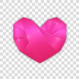 Origami pink heart. Vector 3d pink heart twisted of ribbon. Romantic clip art for Valentines day, wedding Royalty Free Stock Images