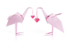 Origami pink paper flamingo couple Stock Photography