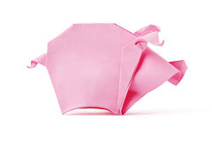 Origami pink pig Stock Photo