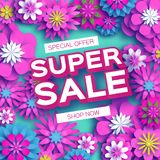 Origami Pink Super Spring Sale Flowers Banner. Paper cut Floral card. Spring blossom. Happy Womens Day. 8 March. Text Royalty Free Stock Photo