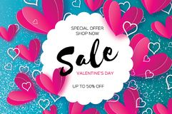 Origami Pink, white hearts. Valentine`s day sale offer,. Banner template in paper cut style on dark background. Circle wave frame. Text. Shop market poster Royalty Free Illustration