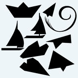 Origami plane and ship Royalty Free Stock Images