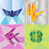 Origami polygon abstract background vector. Origami polygon colorful abstract background vector vector illustration