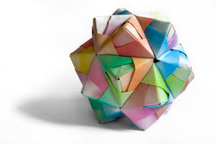 Origami polygon. An isolated colourful origami polygon Stock Photo