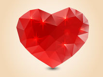 Origami polygonal heart. Royalty Free Stock Image