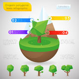 Origami polygonal trees infographic template Stock Images