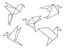 Origami ptaków wektoru set royalty ilustracja