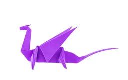 Origami purpur smok Fotografia Royalty Free
