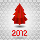 Origami  Red Christmas tree Stock Photography