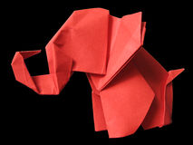 Origami red elephant isolated on black Royalty Free Stock Photo