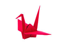 Origami red paper bird. On white background Royalty Free Stock Photography
