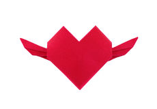 Origami red paper heart with swing Stock Photo
