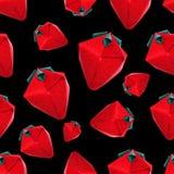 Origami red strawberriy pattern Stock Photos