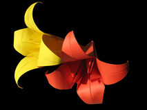 Origami red & yellow flower isolated on black Royalty Free Stock Images