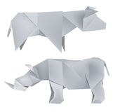 Origami_rhino_cow. Illustration of folded paper models the  rhino and cow. Vector illustration Royalty Free Stock Images