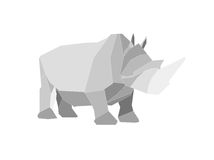 Origami rhino. This is a digital drawing of an origami rhino Stock Image