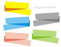 Origami ribbon. Five color of origami ribbon for your website banner Royalty Free Stock Image