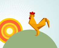 Origami rooster Royalty Free Stock Images