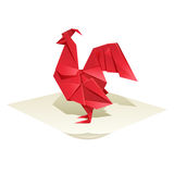Origami rooster Stock Image