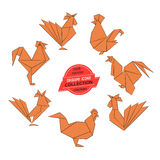Origami roosters collection Stock Images