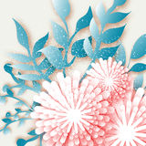 Origami-rosa Blumen mit dem Zweig, Blätter Abstrakter Schnitt des Papiers 3D Stockfotos