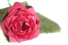 Origami rose close up. Detail shot of the origami rose Royalty Free Stock Image