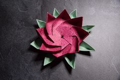 Origami rose Lotus Flower - art de papier sur le fond texturis? images libres de droits