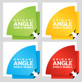 Origami rounded angle paper banners. Price tag template for catalog. Color stickers. Vector. Illustration Stock Photos