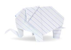 Origami słonia biel przetwarza papier Fotografia Royalty Free