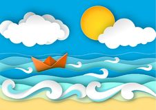 Origami sailing boat made from paper. Sea waves and tropical beach in paper art style. Travel concept vector illustration. Summer vacation poster in paper cut royalty free illustration