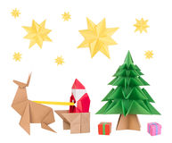 Origami santa clause, deer, Christmas tree and stars Stock Photos