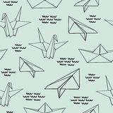 Origami. Seamless contour pattern with origami figures. Decorative vector background for design Stock Image