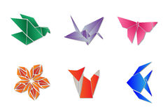 Origami set. Set of colorful origami: bird, crane, butterfly, flower, fox and fish Stock Photos