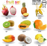 Origami set of tropical fruits Royalty Free Stock Images
