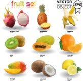 Origami set of tropical fruits. The illustation of tropical fruits in origami style Royalty Free Stock Images