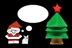 Origami in shape of Santa Claus, Christmas Tree and Fox with callout frame. On black background Vector Illustration