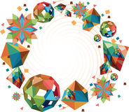 Origami shapes round frame Stock Images