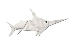 Origami sharks made of paper Stock Image