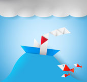 Origami ship Stock Photography