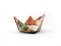 Origami ship of five thousand ruble Royalty Free Stock Photography